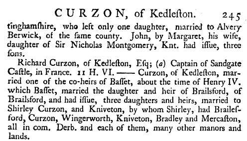 Curzon of Kedleston - The English Baronetage p245